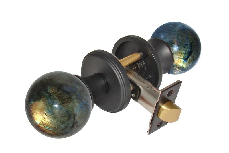 Gemstone Hardware Door Knob Labradorite Matte Black Passage 2-3/4