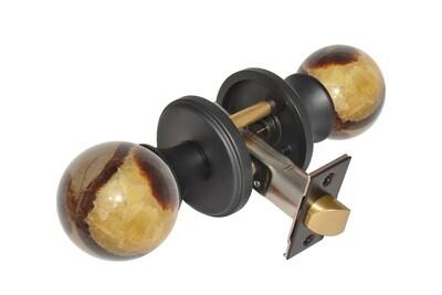 Gemstone Hardware Door Knob Septarian Matte Black Pull (Dummy)