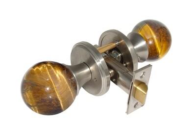 Gemstone Hardware Door Knob Tiger Eye Satin Stainless Steel Passage 2-3/4