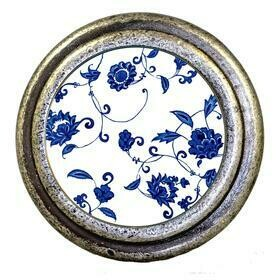 Charleston Knob Company  BLUE AND WHITE FLORAL BURNISHED SILVER CABINET KNOB