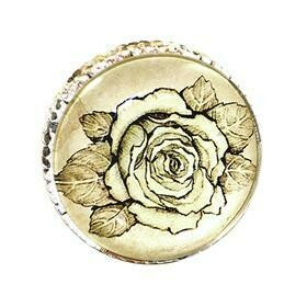 Charleston Knob Company  RETRO WHITEWASHED METAL ROSE CABINET KNOB