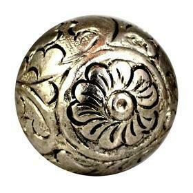 Charleston Knob Company  SILVER METAL ROUND FLORAL DESIGN CABINET KNOB
