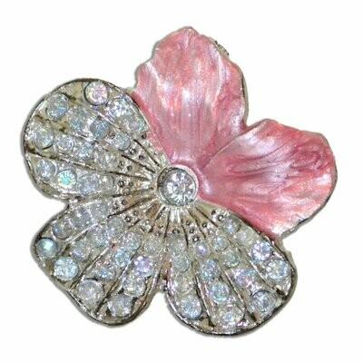 Charleston Knob Company  CLOISONNE JEWEL PINK FLOWER CABINET KNOB