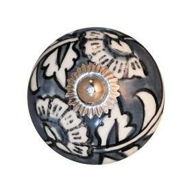 Charleston Knob Company  GREY AND WHITE HAND PAINTED CHIC CERAMIC CABINET KNOB