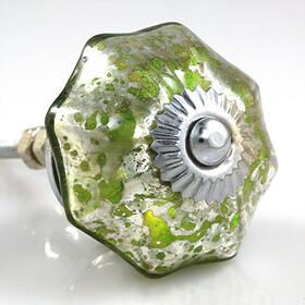 Charleston Knob Company  MERCURY  GLASS PARASOL GREEN CABINET KNOB