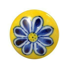 Charleston Knob Company  BLUE FLOWER ON YELLOW    COTTAGE CHIC CERAMIC CABINET KNOB