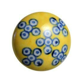 Charleston Knob Company  BLUE AND WHITE DESIGN ON YELLOW  COTTAGE CHIC CERAMIC CABINET KNOB