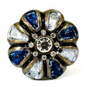 Charleston Knob Company WHIMSICAL KNOB JEWELED BLUE AND WHITE ENAMEL KNOB 1.75