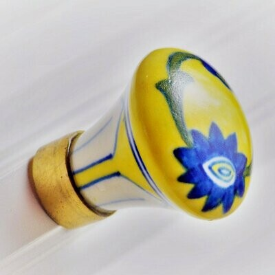 Charleston Knob Company  BLUE FLORAL ON YELLOW COTTAGE CHIC CERAMIC CABINET KNOB