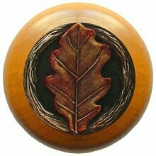 Notting Hill Cabinet Knob Oak Leaf/Maple Brass Hand Tinted  1-1/2