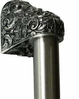 Notting Hill Cabinet Hardware Acanthus/Plain Bar Brilliant Pewter Overall 14