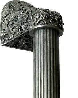 Notting Hill Cabinet Hardware Florid Leaves/Fluted Bar Antique Pewter Overall 16