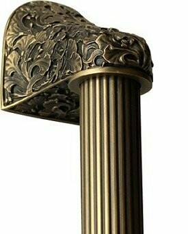 Notting Hill Cabinet Hardware Florid Leaves/Fluted Bar Antique Brass Overall 12