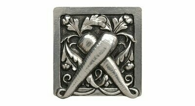 Notting Hill Cabinet Knob Leafy Carrot Brilliant Pewter 1-1/2