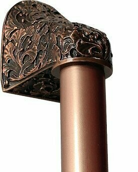 Notting Hill Cabinet Hardware Florid Leaves/Plain Bar Antique Copper Overall 16