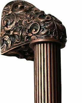 Notting Hill Cabinet Hardware Acanthus/Fluted Bar Antique Copper Overall 16