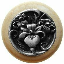 Notting Hill Cabinet Knob River Iris/Natural Antique Pewter  1-1/2