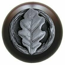 Notting Hill Cabinet Knob Oak Leaf/Dark Walnut Antique Pewter 1-1/2
