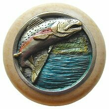 Notting Hill Cabinet Knob Leaping Trout/Natural Pewter Hand Tinted  1-1/2
