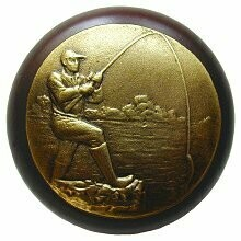 Notting Hill Cabinet Knob Catch of the Day/Dark Walnut Antique Brass 1-1/2