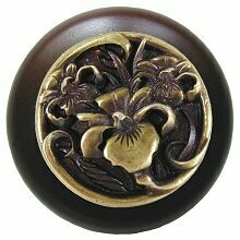 Notting Hill Cabinet Knob River Iris/Dark Walnut Antique Brass 1-1/2