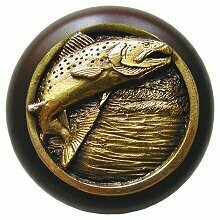 Notting Hill Cabinet Knob Leaping Trout/Dark Walnut Antique Brass 1-1/2