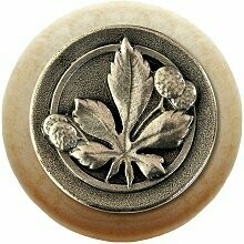 Notting Hill Cabinet Knob Horse Chestnut/Natural Brilliant Pewter 1-1/2