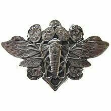 Notting Hill Cabinet Knob Cicada on Leaves Brite Nickel 2