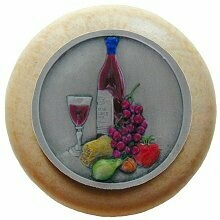 Notting Hill Cabinet Knob Best Cellar Wine/Natural Pewter Hand Tinted 1-1/2
