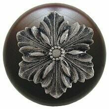 Notting Hill Cabinet Knob Opulent Flower/Dark Walnut Satin Nickel 1-1/2