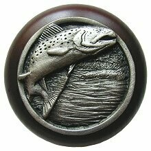 Notting Hill Cabinet Knob Leaping Trout/Dark Walnut Antique Pewter 1-1/2
