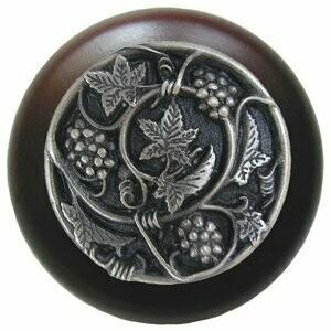Notting Hill Cabinet Knob Grapevines/Dark Walnut Antique Pewter 1-1/2