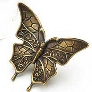 Symphony Designs  Decorative Hardware Solid Brass Butterfly in Estate Dover Finish
