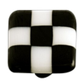 Hot Knobs Glass Cabinet Knob, Black White Squares