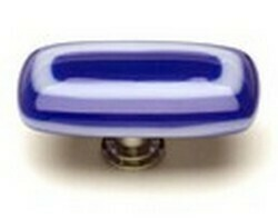 Sietto Glass Rectangular  Cabinet Knobs Luster Cobalt