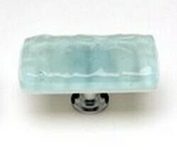 Sietto Glass Rectangular Cabinet Knobs Glacier Light Aqua