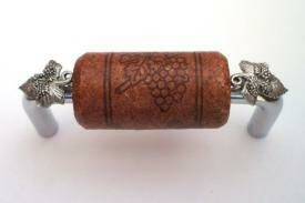 Vine Designs Chrome Cabinet Handle, mahogany cork, silver leaf accents