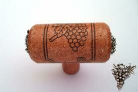 Vine Designs Cherry Stem Cabinet knob, matching cork, silver grapes accents