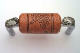Vine Designs Brushed Chrome Cabinet Handle, cherry cork, silver barrel accents