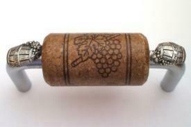 Vine Designs Brushed Chrome Cabinet Handle, expresso cork, silver barrel accents