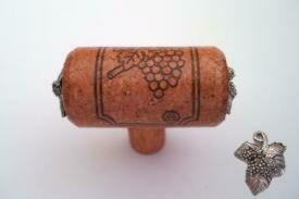 Vine Designs Cherry Stem Cabinet knob, matching cork, silver leaf accents