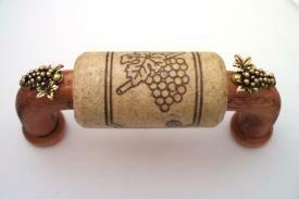 Vine Designs Cherry Cabinet Handle, natural cork, gold grape  accents