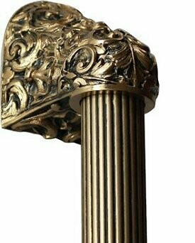 Notting Hill Cabinet Hardware Acanthus/Fluted Bar 24K Satin Gold Overall 16