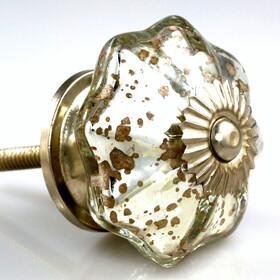 Charleston Knob Company  MERCURY  GLASS PARASOL SILVER CABINET KNOB