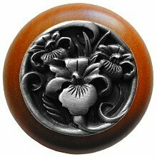 Notting Hill Cabinet Knob River Iris/Cherry Antique Pewter  1-1/2