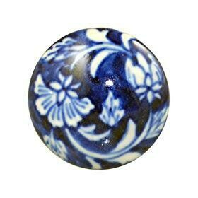 Charleston Knob Company  BLUE AND WHITE COTTAGE CHIC CERAMIC CABINET KNOB