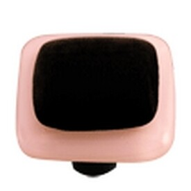 Hot Knobs Glass Cabinet Knob Black with Petal Pink Border