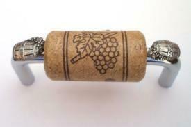 Vine Designs Chrome Cabinet Handle, walnut cork, silver barrel accents