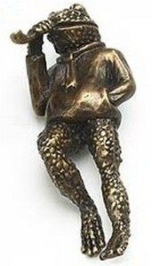 Symphony Designs  Decorative Hardware   Pipe Smoking Frog Cabinet Pull in Aged Dover