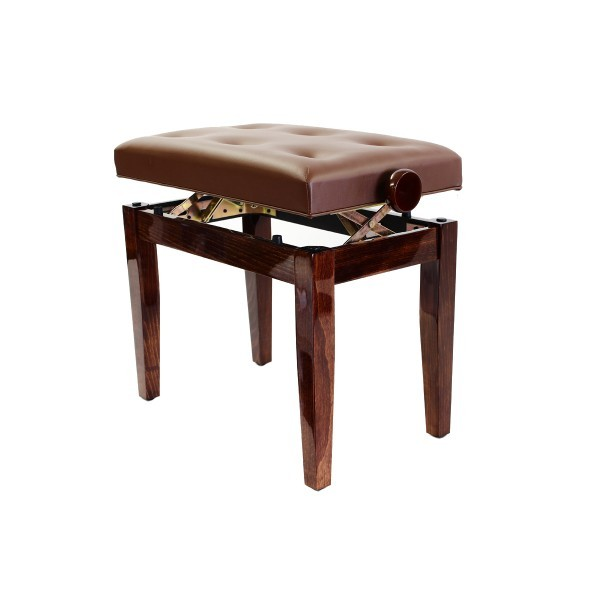 Prima Adjustable Piano Stool - Polished Walnut